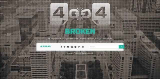 Missing 404 Responsive Page Template