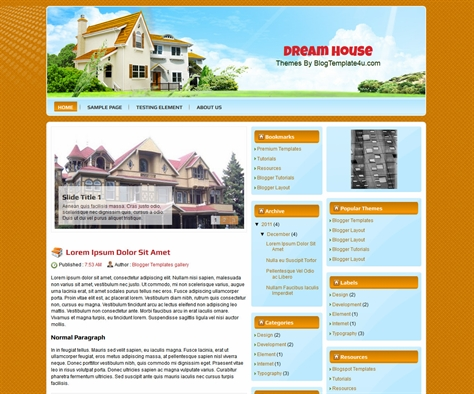 Dream House Free Blogger Template
