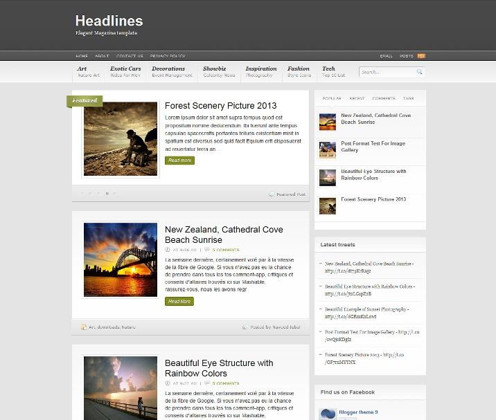 Headlines Blogger Template