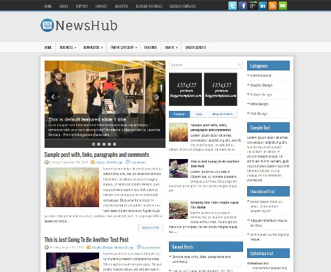 NewsHub Is A Free Responsive And 3 Columns Blogger Template For News Magazine Blogs Has 2 Sidebar JQuery Slider