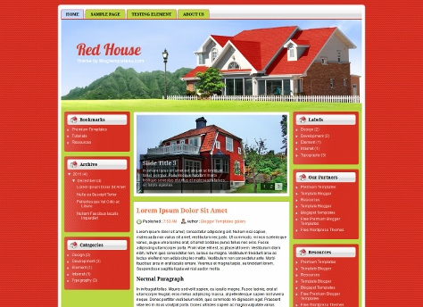 Red House Free Blogger Template