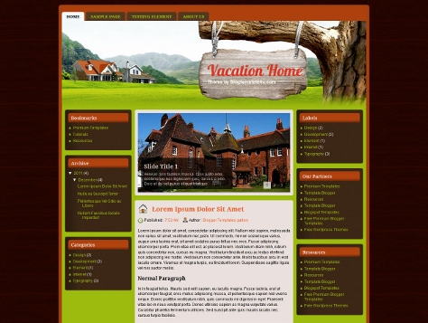 Vacation Home Free Blogger Template