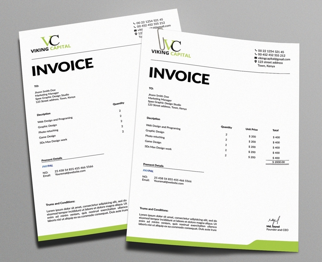 website invoice
