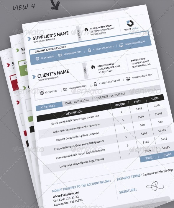 Professional Invoice Template A4