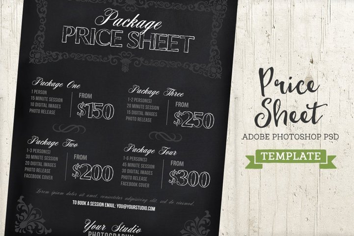 Chalkboard Price List Sheet Template