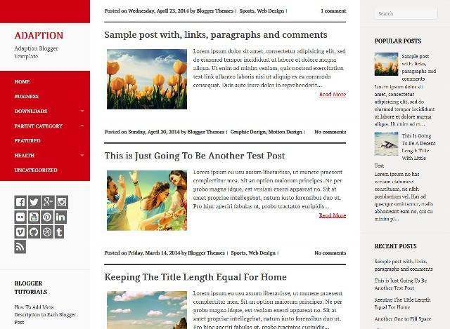 Adaption Magazine Blogger Template