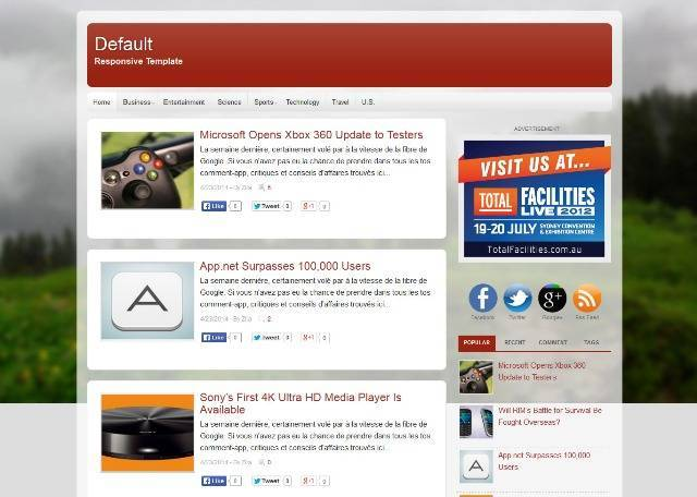 Default Blogger Template for Personal Blog