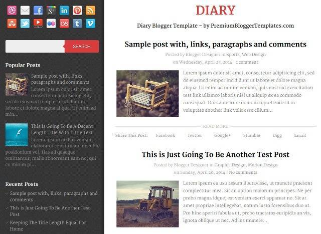 Diary Free Responsive Blogger Template