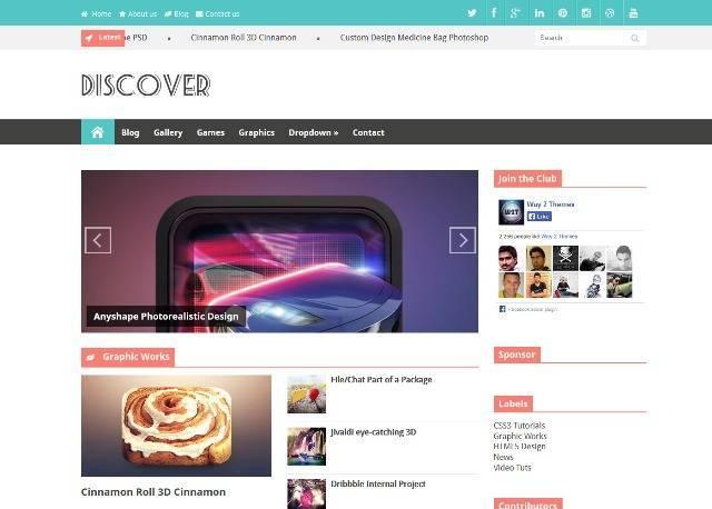Discover Responsive Magazine Blogger Template