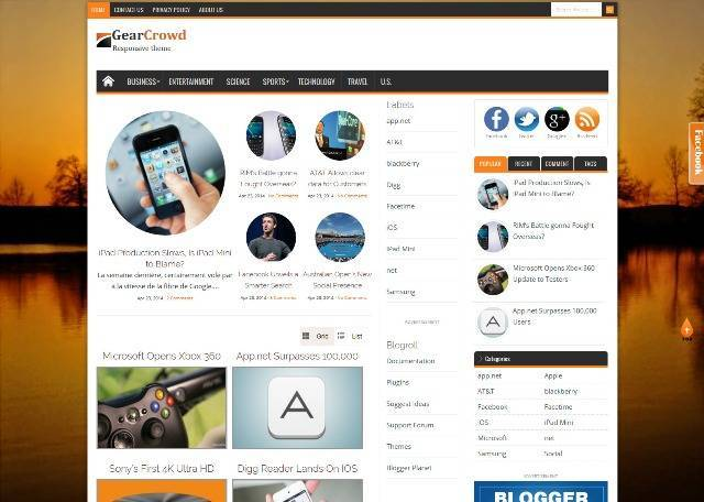 GearCrowd Magazine Blogger Template