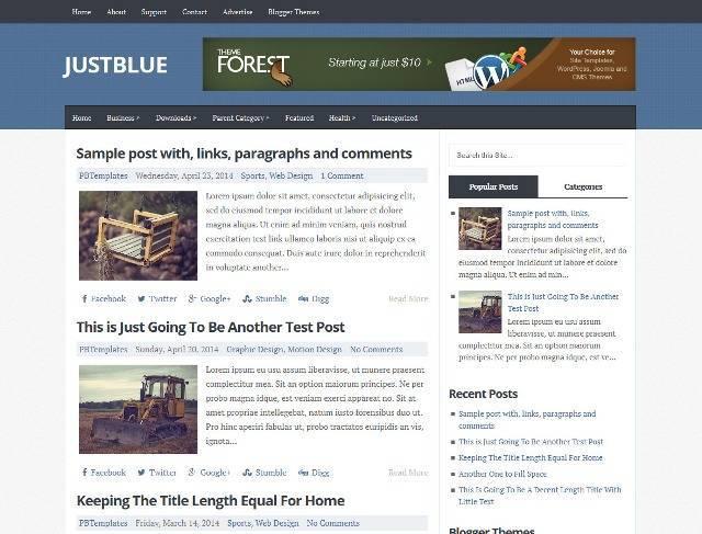 JustBlue Magazine Blogger Template