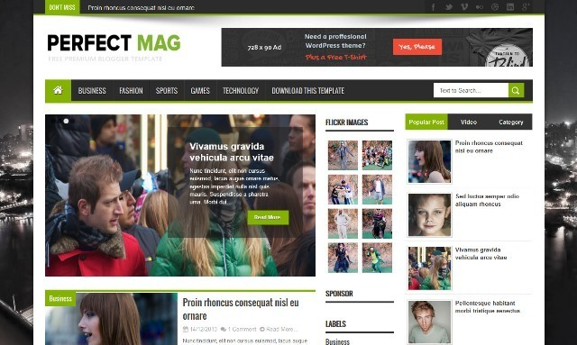 Perfect Mag Magazine Blogger Template