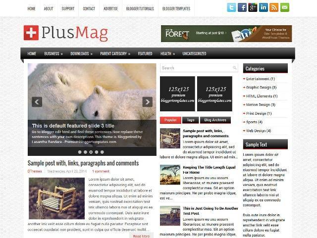 PlusMag Blogger Template for News Blogs