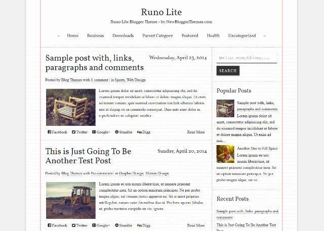 Runo Lite Blogger Template for Writers