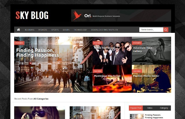 Sky Blog Personal Blogger Template