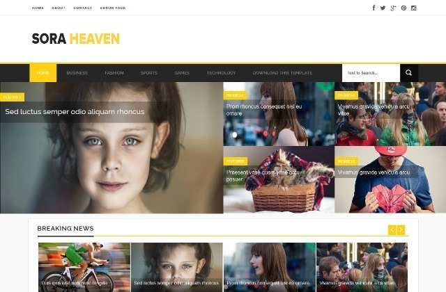 Sora Heaven magazine blogger template