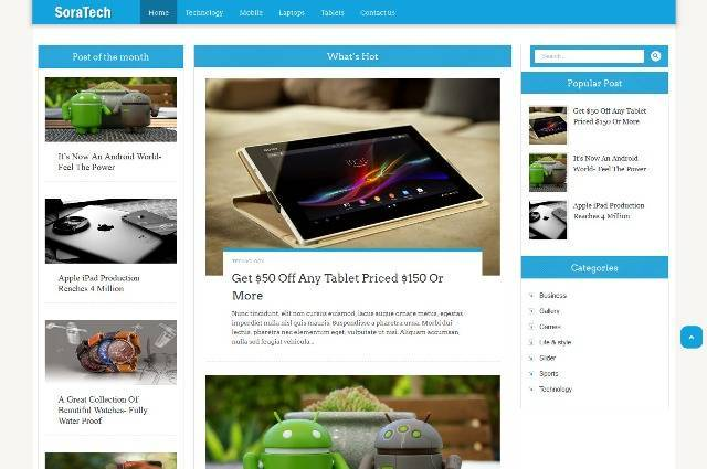 Sora Tech Magazine Blogger Template