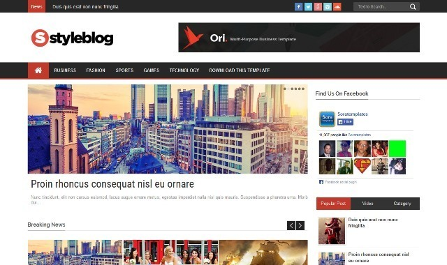 Style Blog Magazine Blogger Template