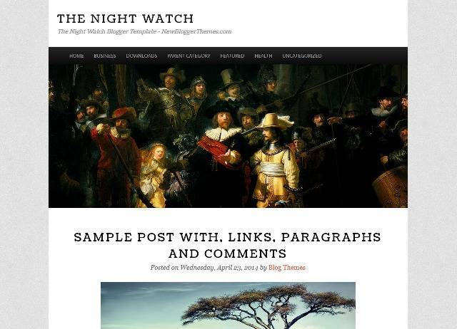 The Night Watch Photography Blogger Template
