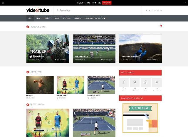 VideoTube Blogger Template