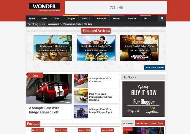 Wonder Responsive Multimedia Blogger Template