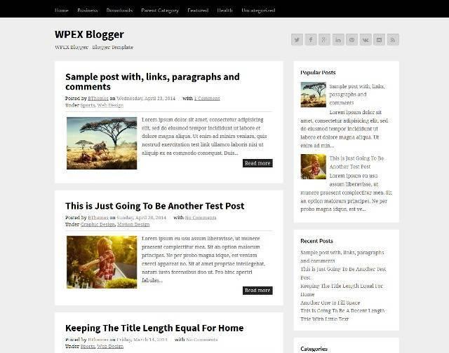 WPEX Blogger Blogger Template