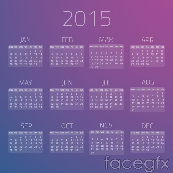 2015 Purple Calendar Vector