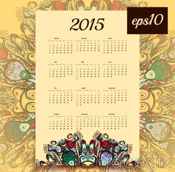 Classical 2015 Calendar Vector