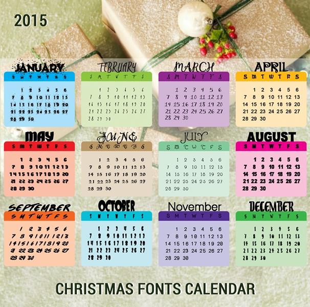Free Christmas Fonts Calendar 2015