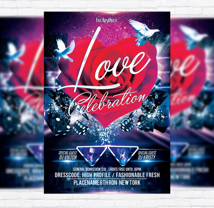 Love Celebration – Free Club and Party Flyer PSD Template