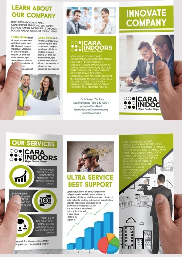 Free Corporate Tri-Fold PSD Brochure Template