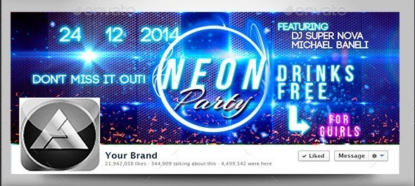 Neon Party Event Facebook Timeline Cover
