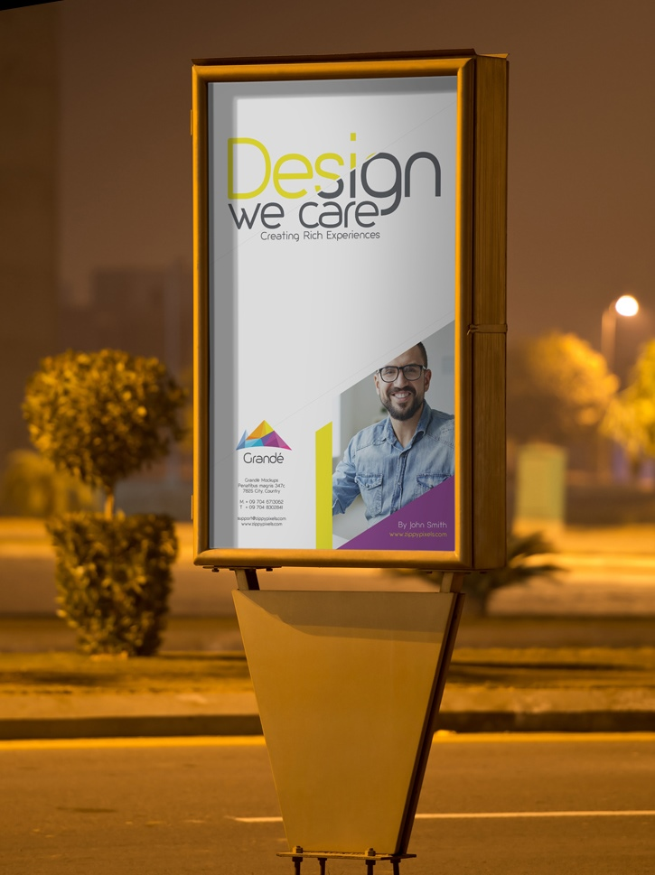 Outdoor Roadside Poster PSD Mockup