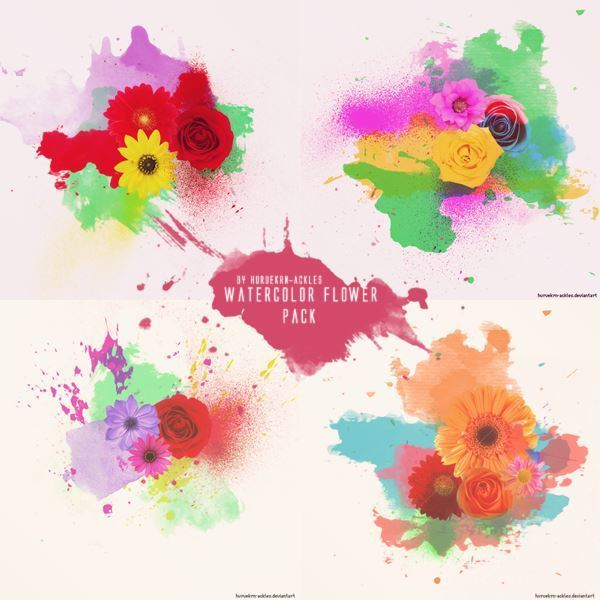 Watercolor Flowers Texture Pack