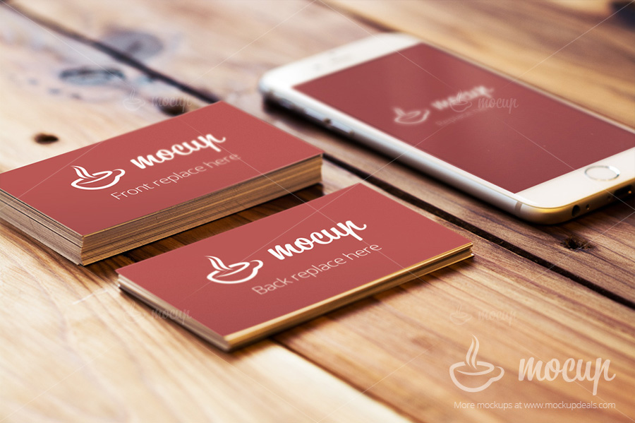Free Business Card Mockups with iPhone 6