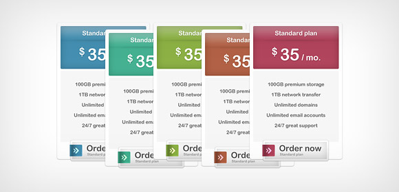 Pricing Boxes (Free PSD)