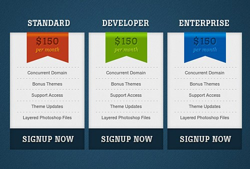 Simple Pricing Boxes Free PSD