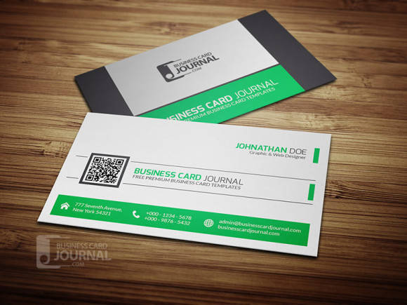Refreshing Green QR Code Business Card Template
