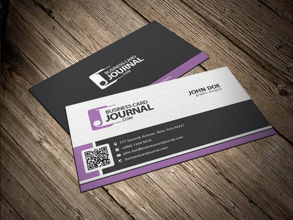 Stylish Corporate Business Card Template with QR Code