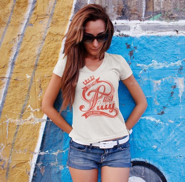 30 free and premium t shirt mockup psd templates webprecis for Woman t shirt mockup