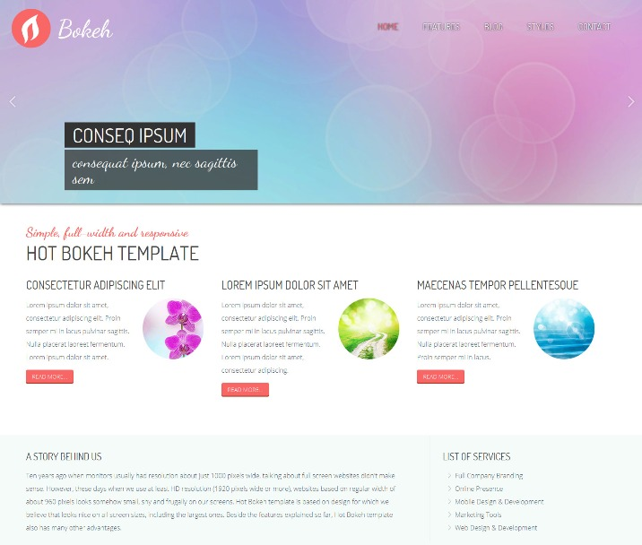 Bokeh - Free Responsive Joomla Template