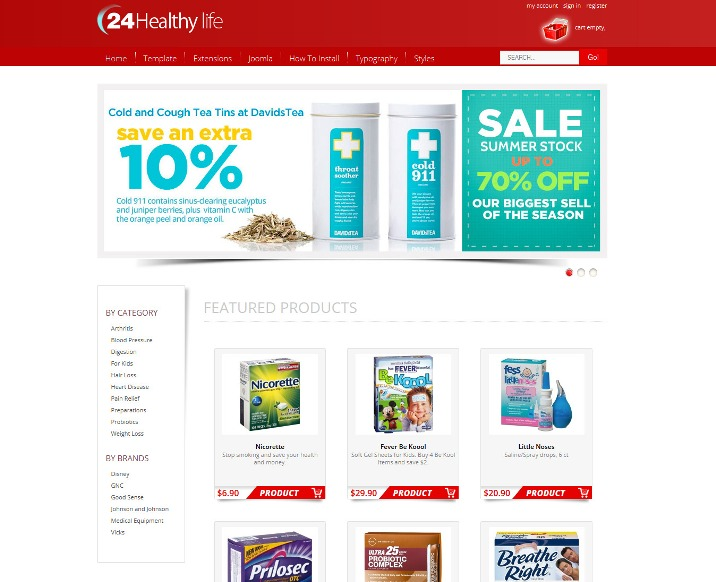 Hot Drug Store - Joomla Pharmacy Template