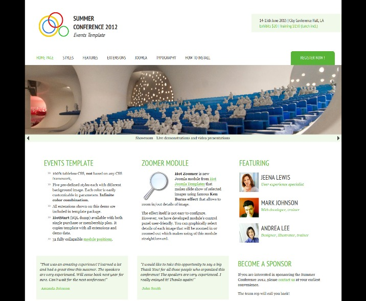 Joomla Events Template for Conferences, Meetings, Seminars