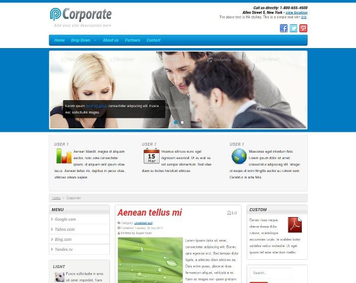 Free Responsive Corporate Joomla Template