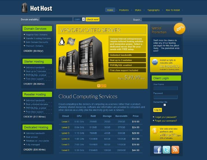 Hot Host - Joomla Hosting Template