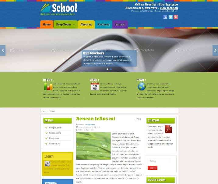 Education, School Free Joomla Template