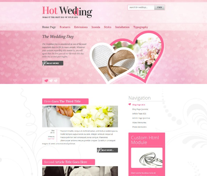 Hot Wedding - Joomla Wedding Template