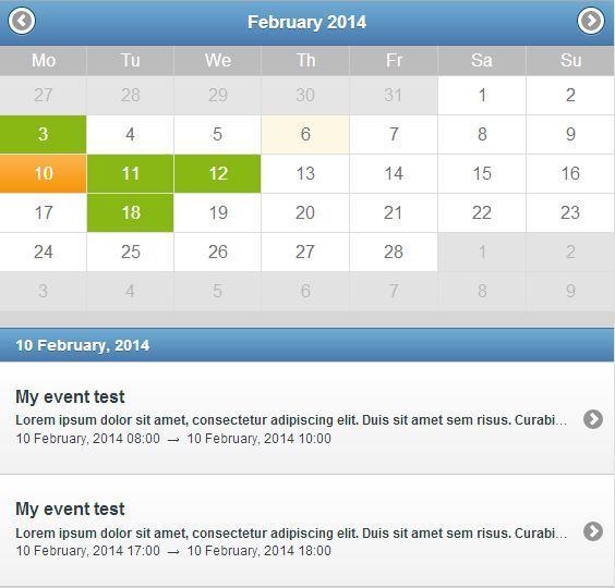 Jquery Mobile Event Calendar