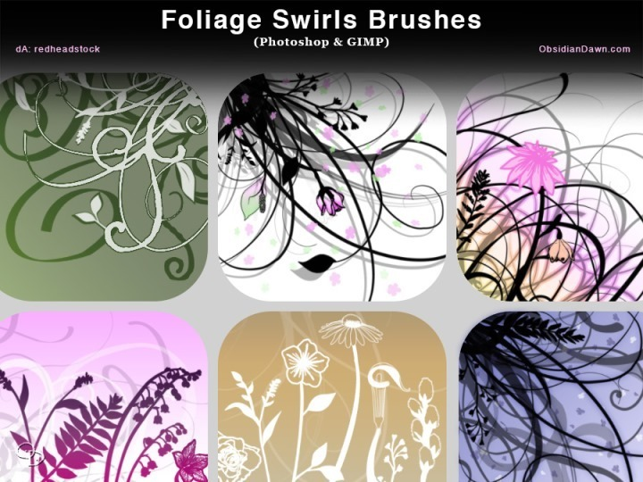 Foliage Swirls Photoshop Brushes