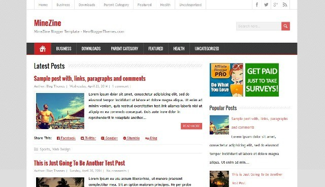 MineZine Blogger Template